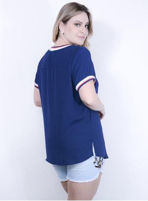T-shirt em Poliéster Golas e Punhos de Ribana