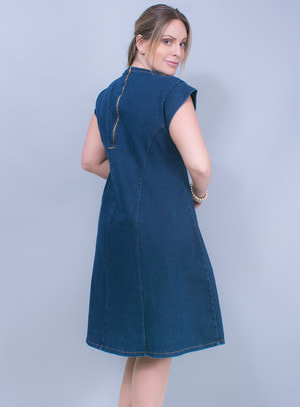 Vestido Evasê em Jeans
