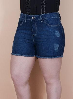 Short em Jeans Barra Desfiada Destroyed