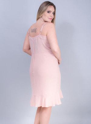 Vestido Sereia em Crepe com Bordado Rosê