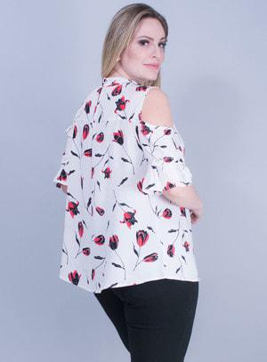 Camisa em Tricoline com Detalhe na Gola e Estampa Floral