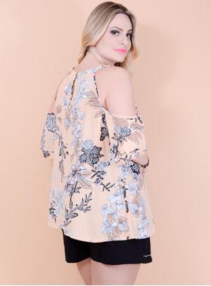 Blusa Ciganinha em Viscose com Pérolas e Recorte no Ombro Floral