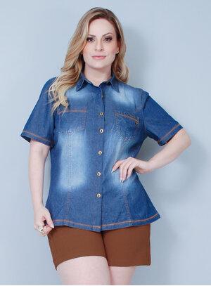 Camisa em Jeans Pesponto Caramelo