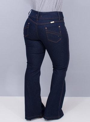 Calça Jeans Flare Lavagem Índigo Cós Duplo