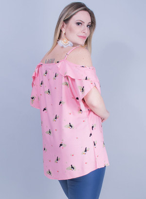 Blusa Ciganinha em Viscose com Estampa de Tucanos
