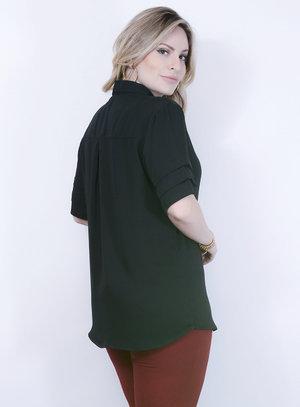 Camisa em Chiffon Pregas nas Mangas Preta