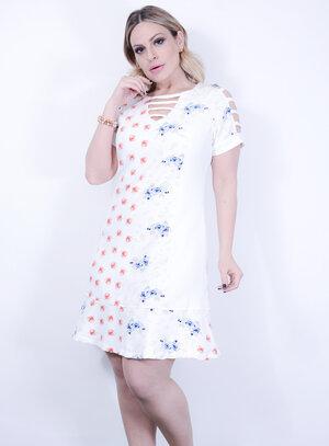 Vestido em Tricoline com Estampa Floral e Vazado nas Mangas Branco
