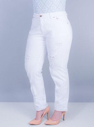 Calça Boyfriend em Jeans Destroyed