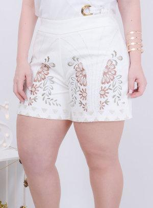 Short em Alfaiataria com Bordado Floral Branco