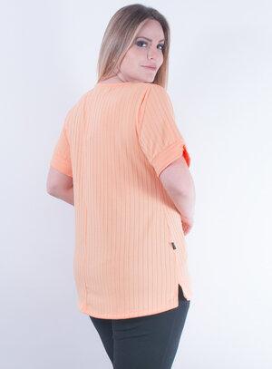Blusa em Malha Canelada com Bordados Laranja