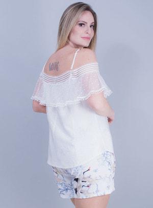 Blusa Ciganinha em Tricoline Texturizada com Alça de Corrente Branca