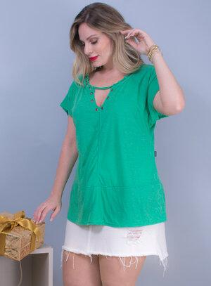 Blusa em Malha com Detalhes no Decote Verde