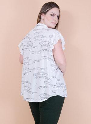 Blusa Manga Curta em Viscose Amarração na Gola Estampa de Notas Musicais Branca