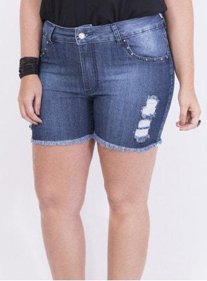 Short em Jeans com Elastano com Aplicação e Estampa nos Bolsos Destroyed