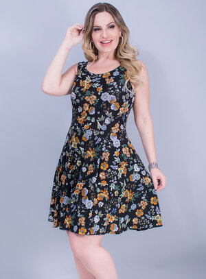Vestido em Liganete Estampa Floral Preto