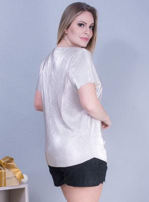 Blusa em Cetim Plissado com Decote em V Prata
