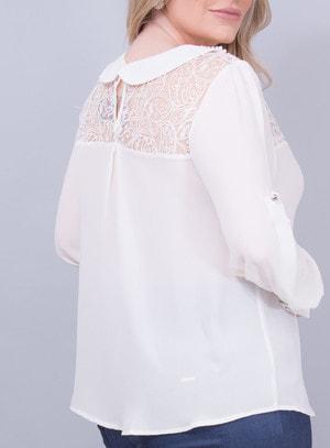 Camisa em Chiffon com Gola de Pérolas e Amarração
