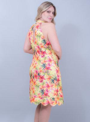 Vestido em Neoprene Pérolas e Gola Alta Amarelo