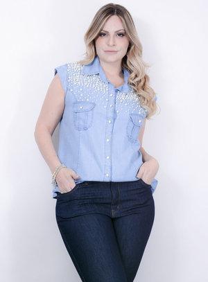 Camisa em Tecel Imita Jeans Sem Mangas e Bordado de Pérolas