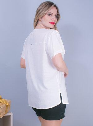 Blusa em Viscose com Manga Curta e Decote em V com Amarração Off White