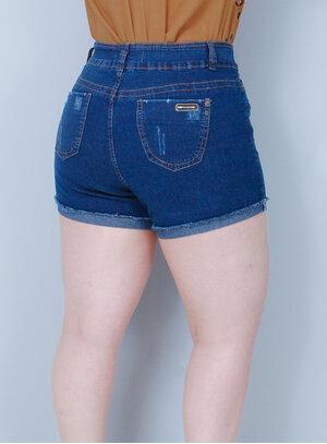 Short em Jeans com Elastano Cintura Alta Destroyed