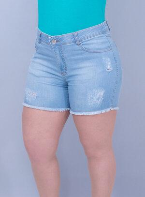 Short Jeans Delavê Barra Desfiada com Elastano e Elástico no Cós