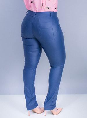 Calça Skinny Resinada Azul
