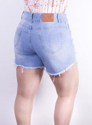 Short em Jeans com Bordado e Aplicação de Paetês
