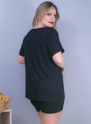 T-shirt em Malha com Ombros em Couro Fake e Amarração de Correntes