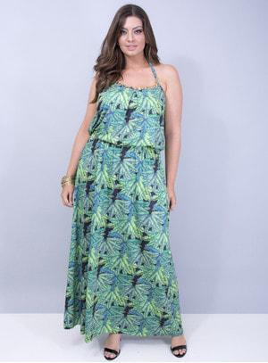 Vestido em Liganete com Detalhe de Corrente e Amarração na Nuca