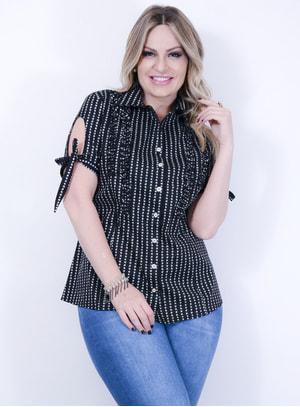 Camisa em Tricoline com Estampa de Estrelas com Babados no Busto Preta