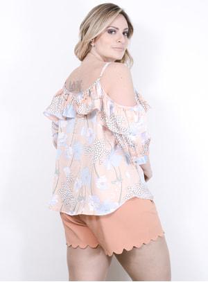 Blusa Ciganinha em Cetim com Estampa Floral