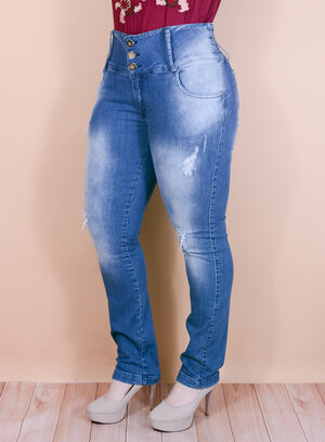 Calça Jeans Destroyed com Elástico no Cós