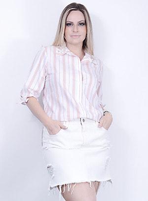 Camisa em Algodão Listrada com Aplicação de Pérolas no Colarinho Rosê