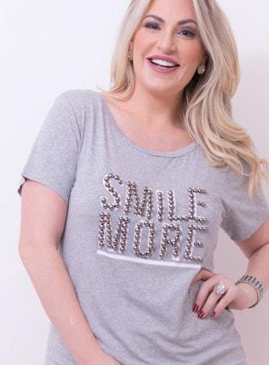 T-shirt em Malha Bordada com Frase