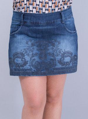 Short Saia em Jeans com Bordado