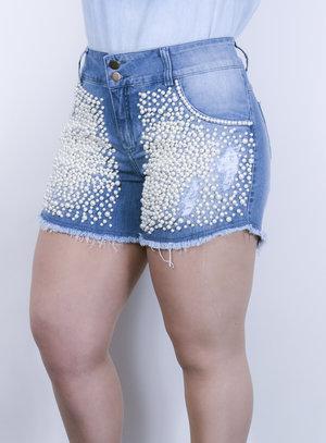 Short em Jeans com Bordado de Pérolas