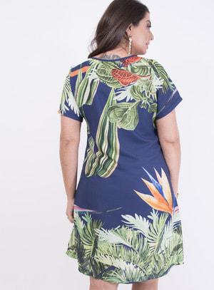 Vestido em Crepe Evasê com Barrado e Estampa Floral Azul