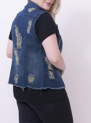Colete em Jeans Destroyed com Bordado nos Ombros