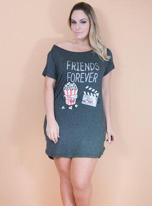 Camisola Camisetão em Viscose Manga Curta Friends Forever