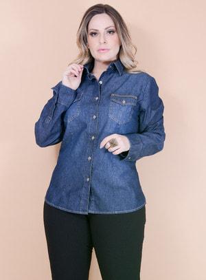 Camisa Jeans Pespontada com Bolsos