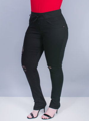 Calça Skinny em Sarja Stretch Destroyed e Elástico no cós