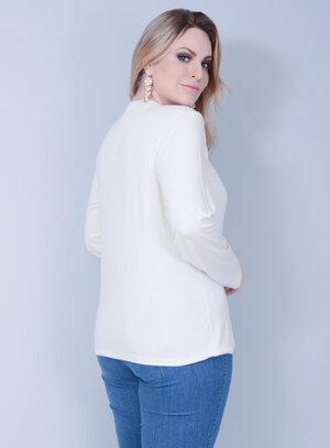 Blusa em Malha com Franjas Off White
