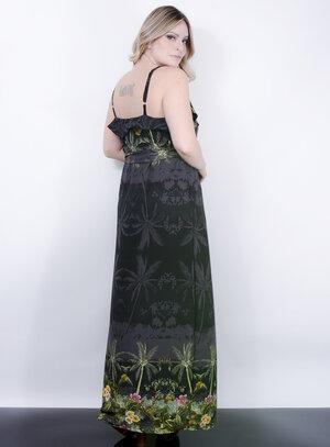 Vestido Longo em Estampa Floral Barrada e Fenda na Lateral