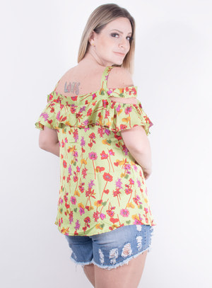 Blusa Ciganinha em Cetim com Estampa Floral Verde