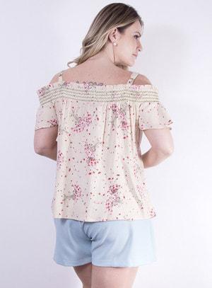 Blusa em Crepe Ciganinha com Estampa Floral Bege