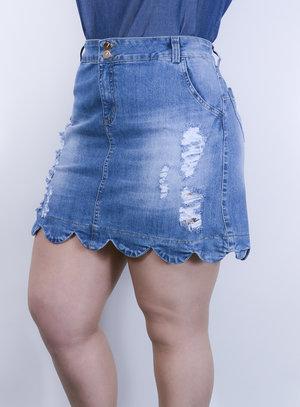 Saia em Jeans Destroyed com Barra Nuvem