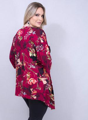 Kimono Amplo em Malha Floral