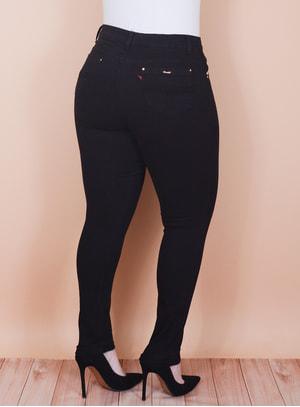 Calça Skinny em Jeans Cropped com Elástico no Cós