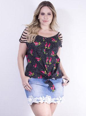 Blusa em Tricoline com Detalhes nas Mangas e Estampa de Poá e Flores Preto